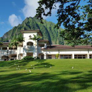 Hale ʻĀkoakoa with Koʻolau mountains behind