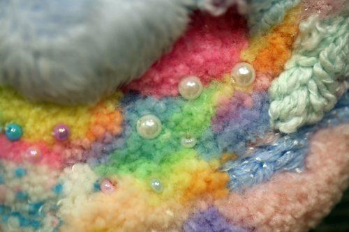 パフェデパ-ト by Michelle Conley-Harada; Mixed media embroidery on monk's cloth