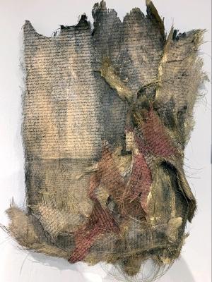 Aurum 79 by Pratisha Budhiraja; Intaglio printed on palm fiber and gilded with gold ink and Kanazawa gold powder