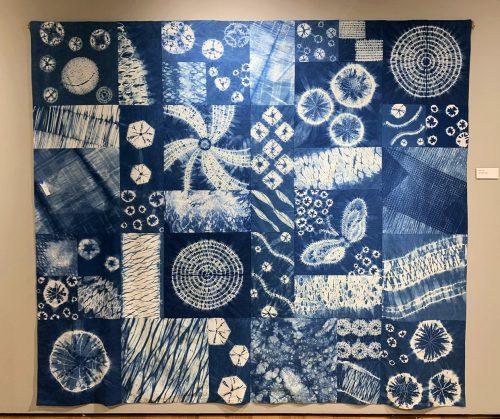 Brian's Shibori Quilt by Gail M. Toma; Fiber Indigo Shibori Dye