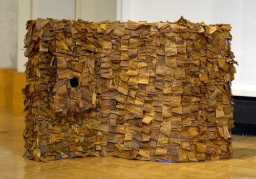 Continuous by Jennifer Ko; Tea leaves on corrugated cardboard