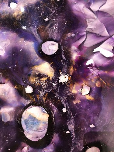 Dark Matter by Monica Anderson; Resin mixed with golden and transparent violet high fluid acrylics trapped between a Yupo and a transparent sheet after a process of 40 days minimum for complete drying