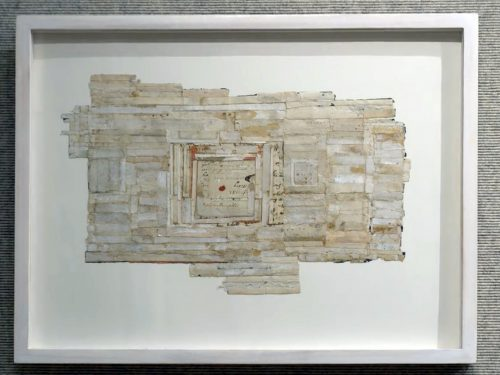 Deed by Charlotte Forsythe; Vintage (19th century) paper collaged and woven; ink, paint