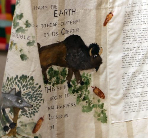 Earth by Patricia Greene; Hand embroidery, stenciling and painting