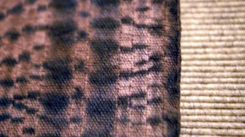 Earth Shimmering by Ghislaine D. Chock; Handwoven Taiten Shibori Cotton with Indigo, Osage, and Quebracho Rojo dyes