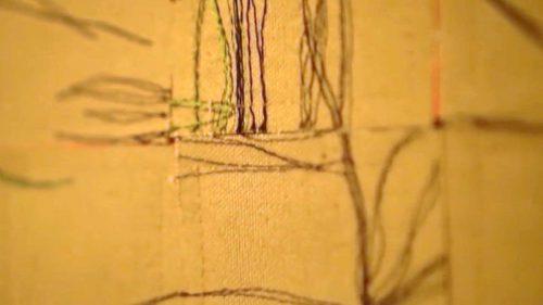 (Not my) Fault Lines by Linda Taylor; Machine stitching: cotton canvas, shibori dyed cotton