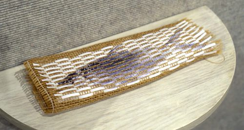 Fishtrap (from blood memory) by Rebecca Goldschmidt; Inkjet print, burlap Michelle Conley-Harada