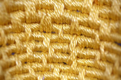 Good Morning by Joyce Jeffers; Cotton, mercerized cotton, feathers Coil basket