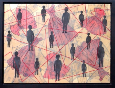 Hidden Workforce by Linda Kane; Mixed media; Dress patterns, images, encaustic wax, thread