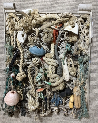 Lots of Knots by Ruth Light; Found objects on beaches including rope knots and fishing floats tied to plastic frame