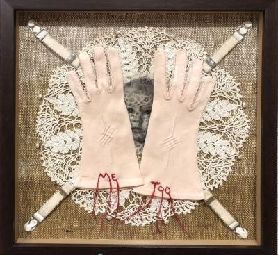#metoo by Linda Kane; Mixed media; hemp fiber, vintage fiber items, pearl buttons, thread