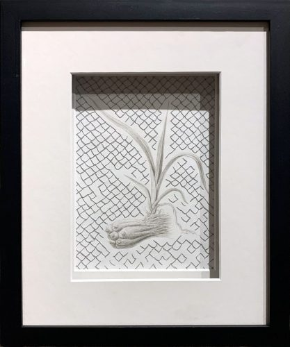 Reflections on Hala/Pandan by Michelle Schwengel-Regala; Silverpoint drawing on archival paper, reflective thread stitching