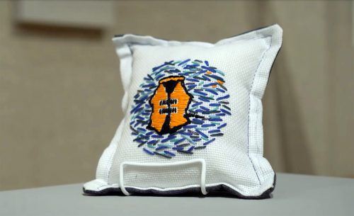 While You Were Resting by Reem Bassous; Hand embroidery, machine sewing, emergency blanket