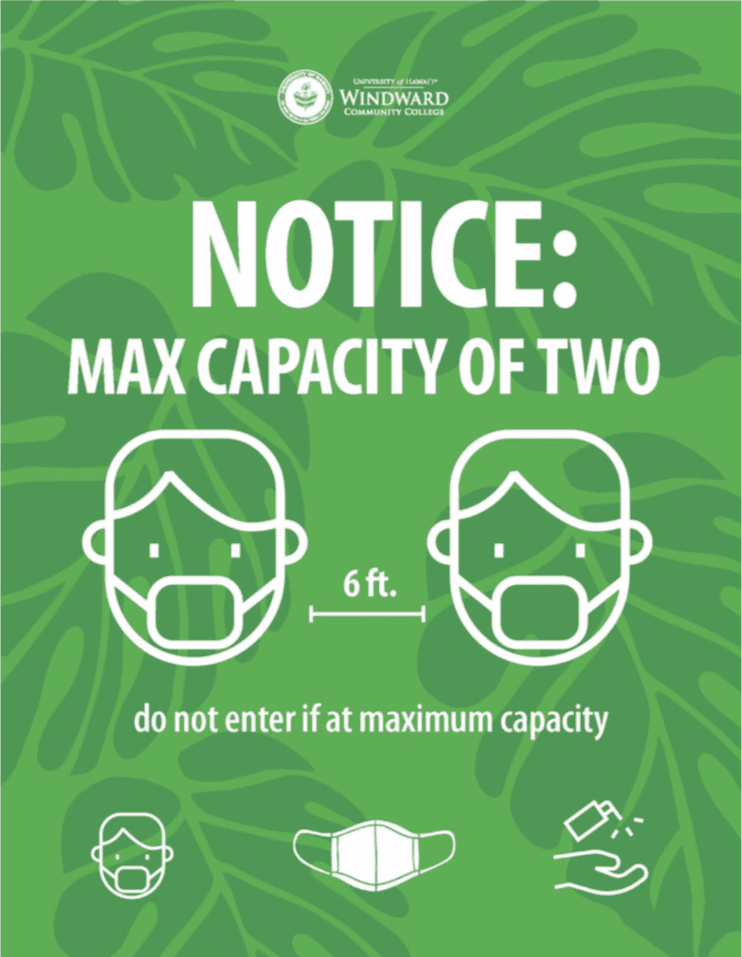 Notice: Max capacity of Two with 6' social distancing. Do not enter if at maximum capacity.