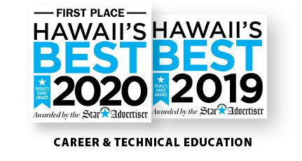 Hawaii's Best in Career & Technical Education for 2019 and 2020. Awarded by the Star Advertiser