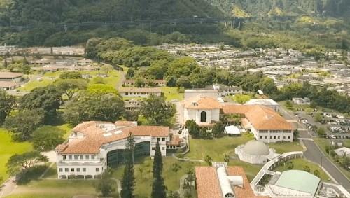 Aerial View of WCC campus with Ko'olau mountains in the background.