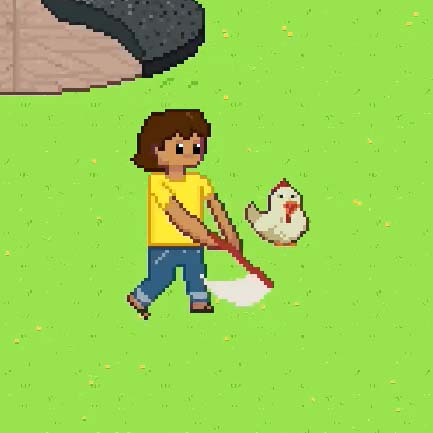 Chicen Chasers Character with a net trying to catch a chicken