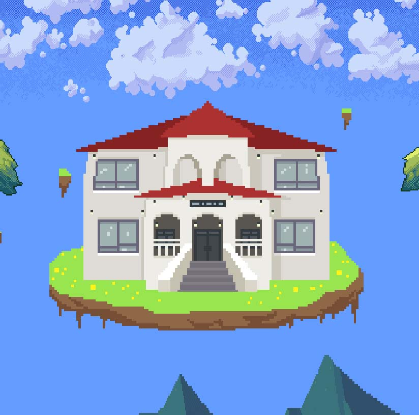 Chicken Chasers virtual dorm building on an island in the sky